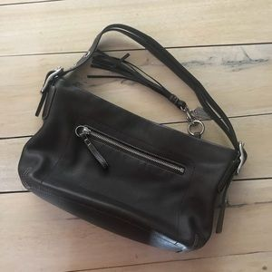 COACH Leather Hobo w/ Tasseled Tab Zipper